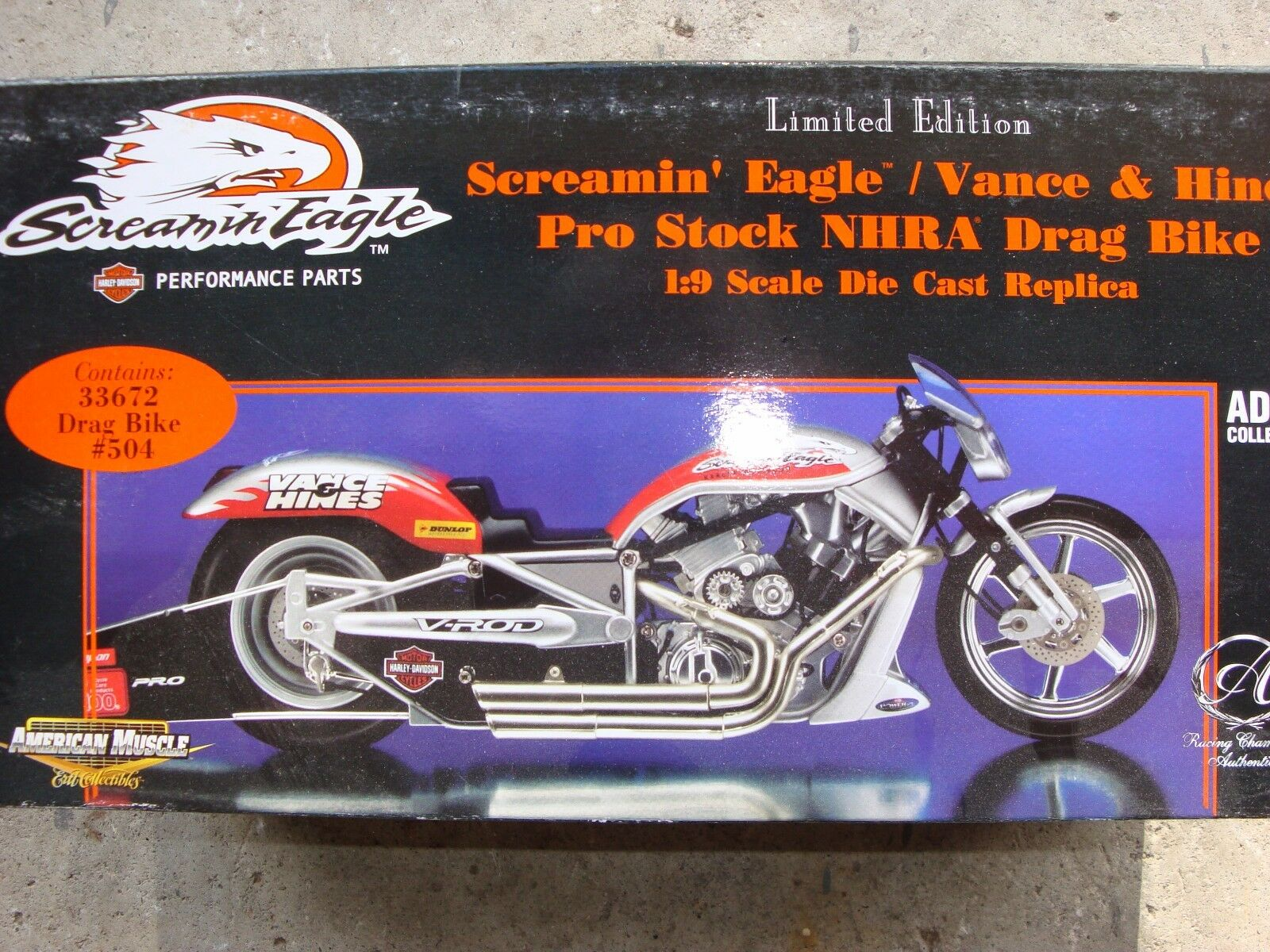 American musclée échelle 1 9 Drag Bike Vance et Hines