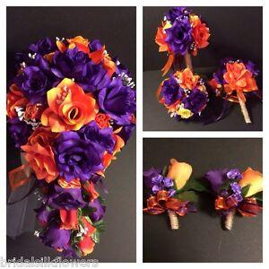 Image Is Loading Purple Orange Wedding Bridal Bouquet Package Silk Rose