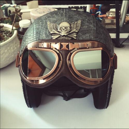 Vintage Skull Motorcycle Helmet Biker Helmet With Goggles ABS Cruiser Cool