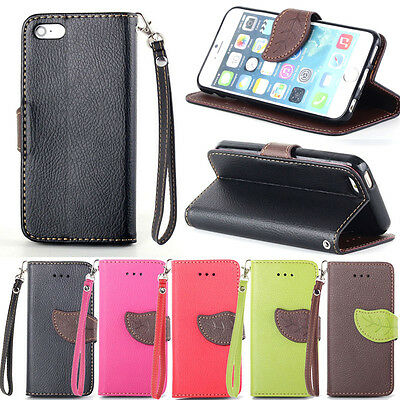 Leaf Leather Flip Wallet Pouch Stand Soft Protect Case Cover For Mobile Phones
