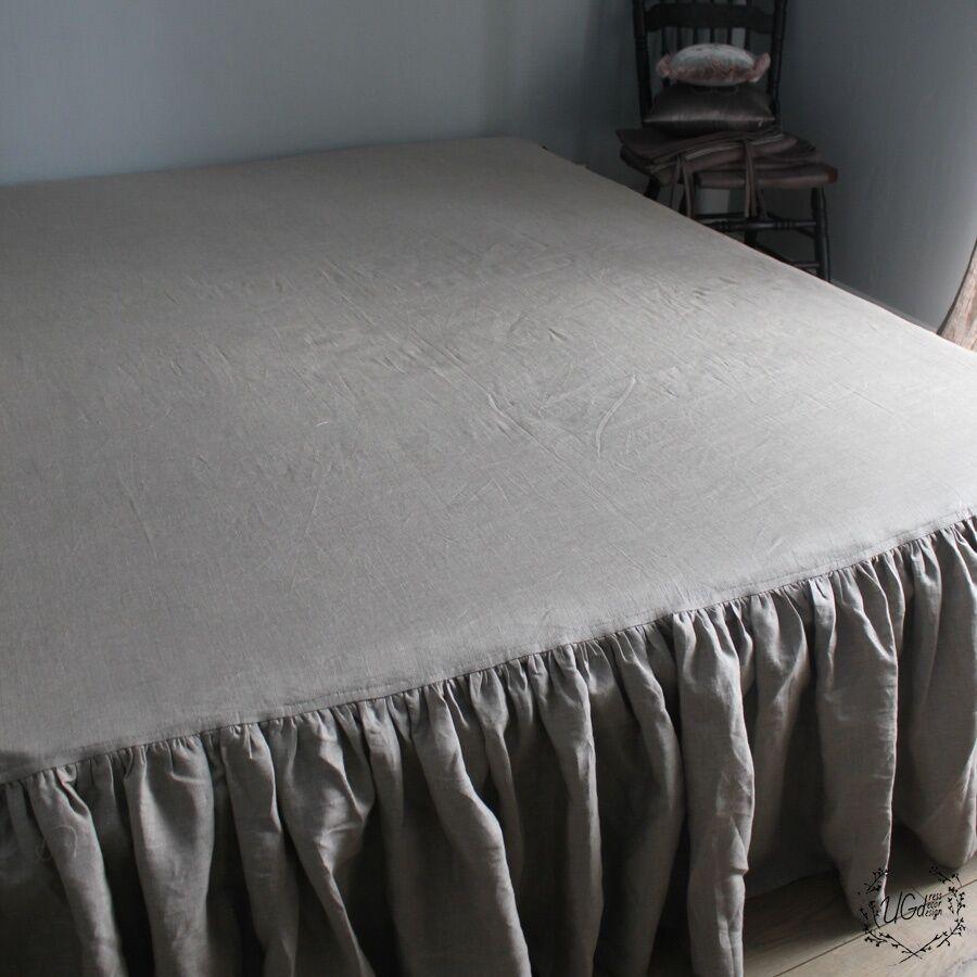 100% Linen RUFFLED BED SKIRT Twin Full Queen King Long Drop Length All Größes