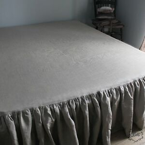 Image Is Loading 100 Linen Ruffled Bed Skirt Twin Full Queen