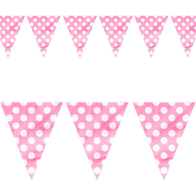 12ft Pink White Polka Dot Spot Style Party Pennant Banner Bunting Decoration