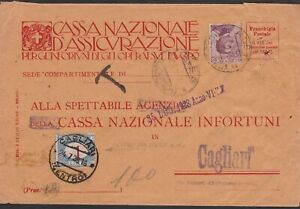 REGNO-segnatasse-1-lira-con-cifra-spostata-su-lettera-1928-da-Ales-a-Cagliari