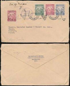 BARBADOS-1938-MARITIME-PAQUEBOT-DUPLEX-on-SEAHORSES-to-FLORIDA-DA-COSTA-ENVELOPE