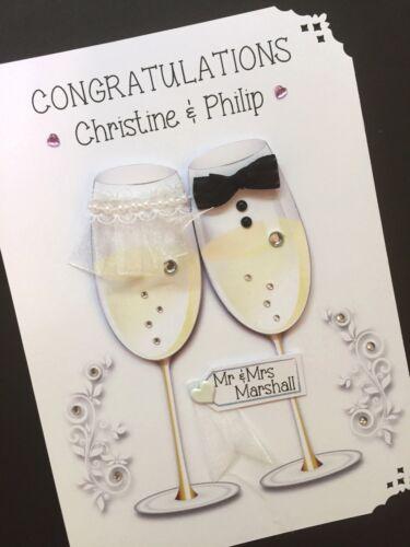 Personalised Handmade/' Mr /& Mrs Champage./' Wedding Card