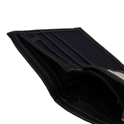 Black Denim Mens Boys Teens Kids Bi Fold Canvas Wallet Cards