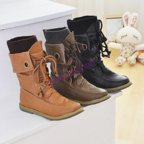 Punk Womens Combat Leather Military Ankle Boots Shoes Knight Casual Hot Lace Up