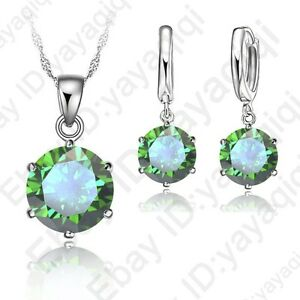 Best-Gift-For-Women-Girls-Shiny-CZ-Crystal-Necklace-Earring-Chain-Jewelry-Sets