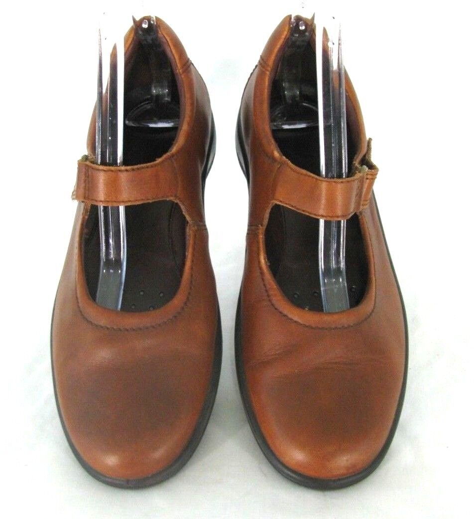 Ecco shoes Sz 39 ( 8 - 8.5) Mary Jane Loafers Brown Leather