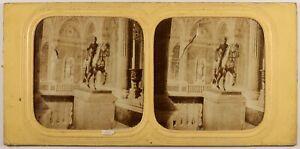 Francia París Hôtel Ayuntamiento Estatua De Henri IV Foto Estéreo Diorama c1860
