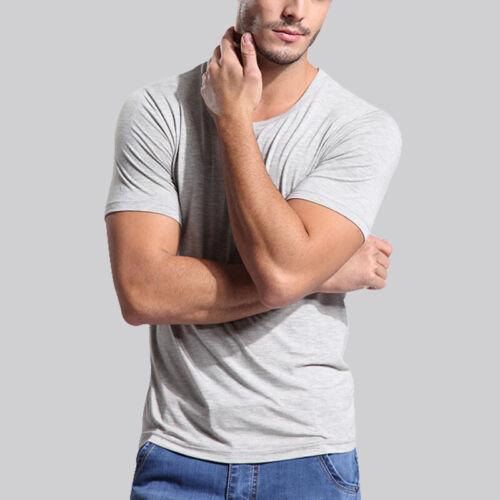 Men Short Sleeve Shirt Bamboo Fiber top Round /& V Neck all size US S-3XL 8 color