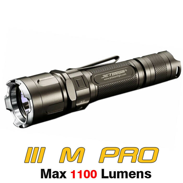 JETBeam III M PRO Cree XP-L LED 1100lms 18650 Military Tactical Flashlight Torch