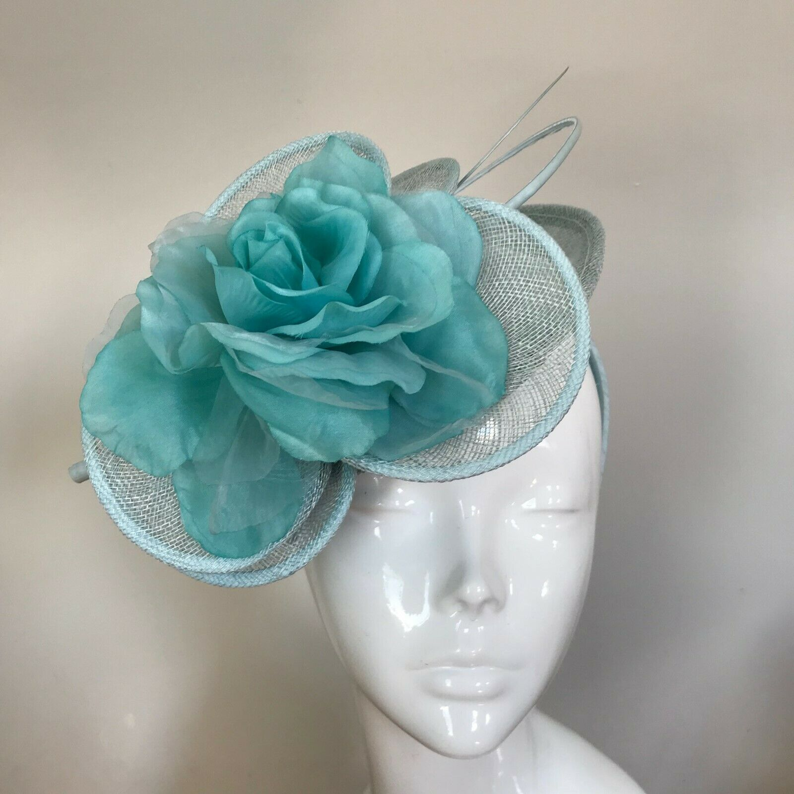 One Off Pale Blue Designer Fascinator by Hat Couture Wedding Bridal Racing Hat