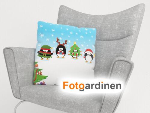 "Foto-Kissenbezug /""Penguins/"" auf Maß 3D Fotodruck Kissenhülle mit Motiv"