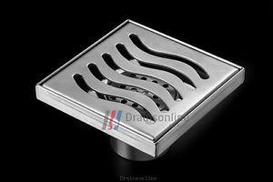 Designer-Full-Stainless-Steel-Square-Floor-Waste-Grates-Bathroom-Shower-Drain