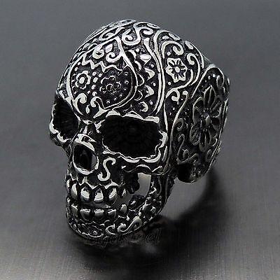 MEN's Gothic Flower Skull 316L Stainless Steel Biker Ring