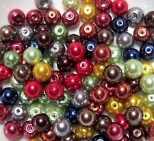 ASSORTED MIXED LOT-100 GLASS PEARL BEADS MIXTURE-JEWELRY MAKING SUPPLIES-9-10MM