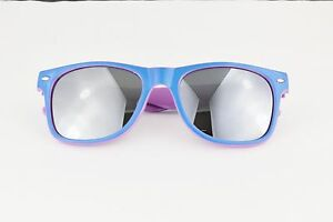 9b04d3cf6ce Image is loading Blue-Purple-2tone-frame-mirrored-sunglasses-retro-mirror-