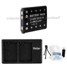 EN-EL10 Replacement Battery & USB Dual Charger f/ Nikon Coolpix S500 S510 S60