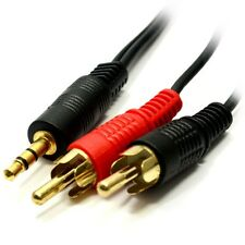 15m 3.5mm Jack to 2 x RCA Cable (Twin Phono) Audio Lead Stereo Long GOLD