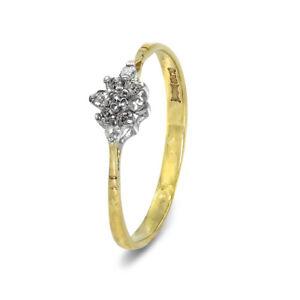 9Ct-Oro-Amarillo-9-Piedra-Anillo-Pedida-Diamante-Cluster-Tamano-Q-00791