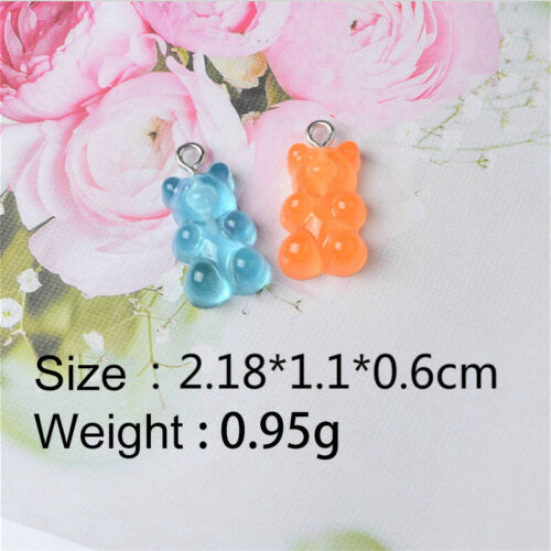 50X Resin Cute Bear Mixed Color Charms Pendant DIY Keychain Making Necklace vi