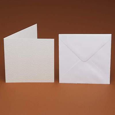 50 x Small Square Cards & 50 Envelopes ivory cream white (smooth hammer Linen)