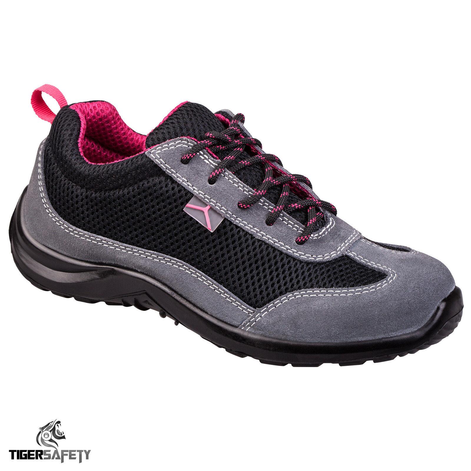 Delta Plus Como S1P SRC Ladies Suede Mesh Steel Toe Cap Safety Trainers shoes