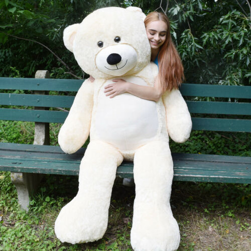 "6 Ft Giant Teddy Bear Cuddly Stuffed Plush Animals Toy 72/"" Ivory Brithdays Gift"