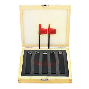 """5//8/"""" 5PC INDEXABLE CARBIDE INSERTS TURNING TOOL BIT SET"""