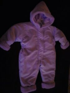 08f1200d3 Baby Girls Lilac padded all in one snowsuit with fur trims Size 6-12 ...