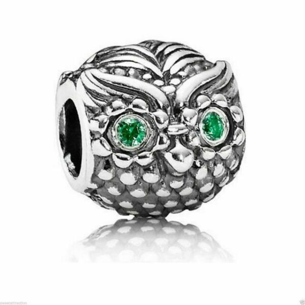 Details about  /New Polished Rhodium Plated 925 Sterling Silver Owl Charm