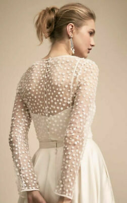 NEW BHLDN Jenny Yoo Gleam Capelet Wedding Topper Beaded Shrug XS S M L