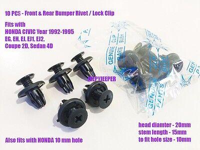 92-95 Honda Civic EG EH EJ EJ1 EJ2 Coupe Front Rear bumper lock clip 10x