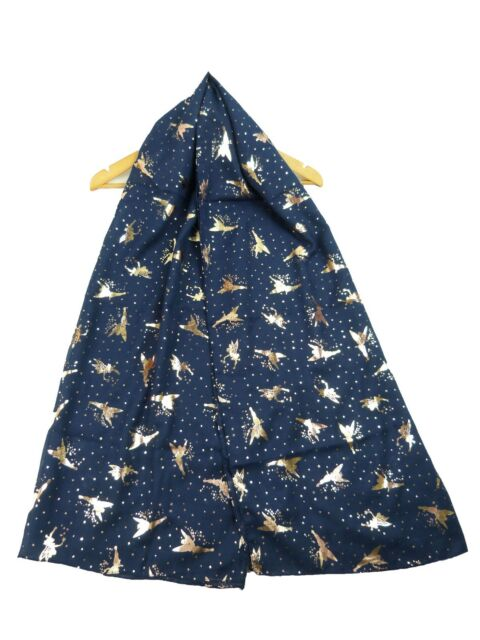 Grey Stars Scarf Gold Tone Sparkly Foil Star Shawl Ladies Womens Large Wrap New