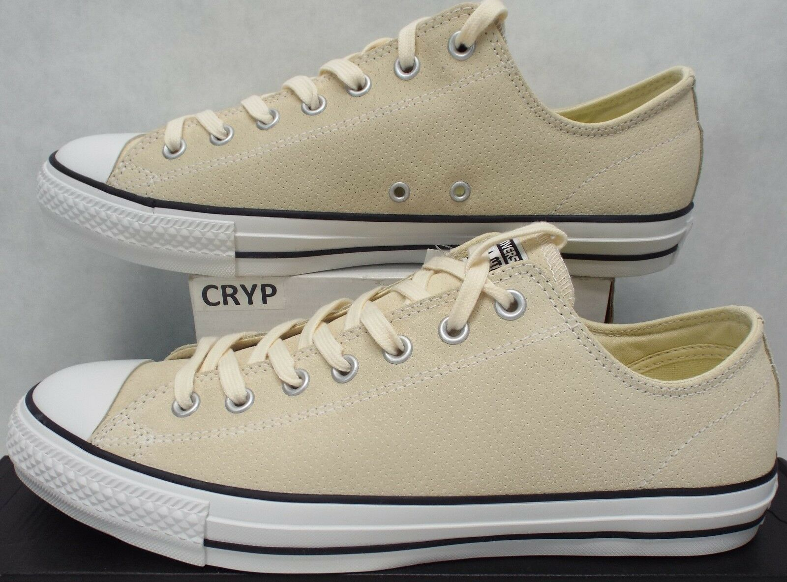 Mens 12 Converse Chuck Taylor CTAS Pro OX Natural White Leather shoes 70 144594C