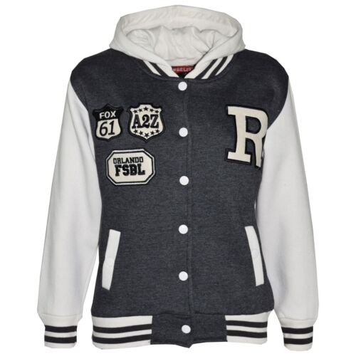 Kids Girls Boys R Fashion Baseball Charcoal Hooded Jacket Varsity Hoodie 2-13 Yr