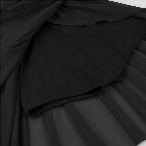 UK-Women Ballet Dance Leotard Dress Girl Chiffon Gymnastics Split Skirts Costume