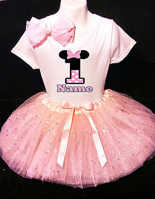 Disney Princess Dress++NAME+ 1st First 1 Birthday Shirt Personalized 2 Pc Pink Tutu Outfit Fast Shipping