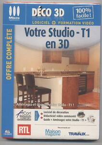 neuf logiciel formation deco 3d votre studio t1 en 3d sous blister cd rom pc ebay. Black Bedroom Furniture Sets. Home Design Ideas