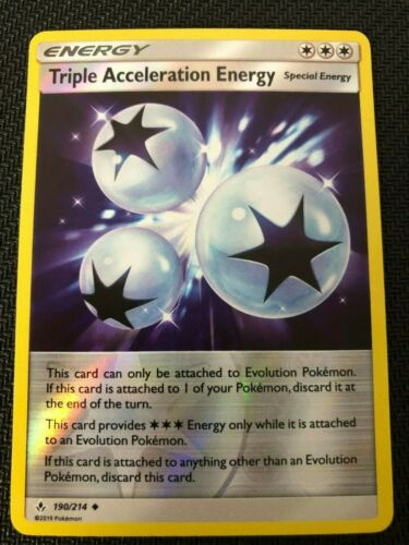 SM UNBROKEN BONDS TRIPLE ACCELERATION ENERGY 190//214 UNCOMMON REVERSE Pokemon
