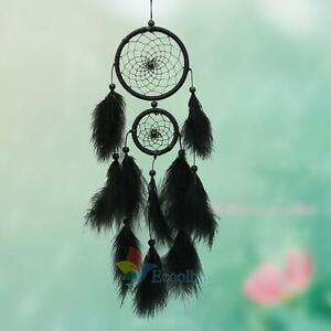 Black-Large-Feater-Handmade-Dream-Catcher-Car-Wall-hanging-Crafts-Gift-25-5-034-A