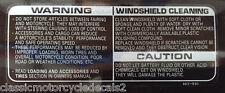 HONDA VF500F VF1000R VFR750 BLADE SCREEN CLEANING CAUTION RESTORATION DECAL