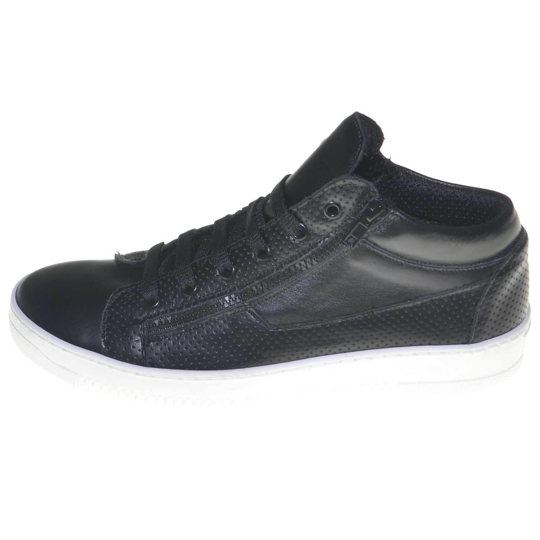 Scarpe uomo sneaker alta con zip e lacci casual fondo bianco antiscivolo vera pe