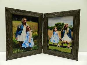 8x10-Black-Rustic-Double-Hinged-Vertical-Wood-Photo-Picture-Frame-New