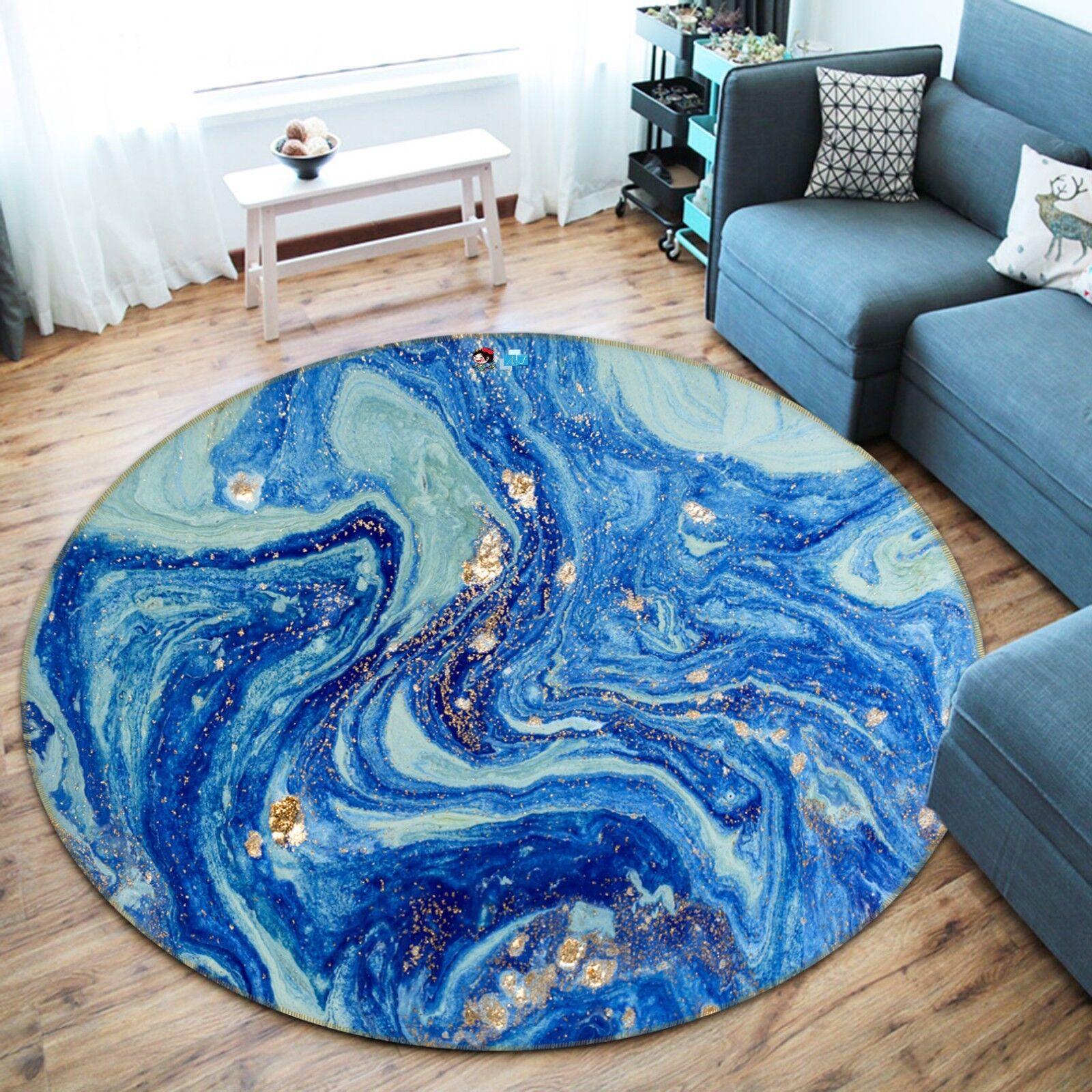 3D Oil Painting blu 2 Non Slip Rug Mat Room Mat Round Quality Elegant Carpet AU