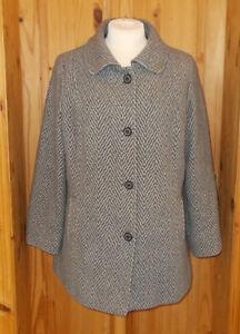 en ondulé manteau rayé ivoire laine manteau gris rayé 1max d'hiver 46 18 mélangée manteau 1qfWFn