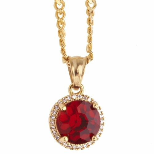 Mini Ruby gold Iced Out Edelstahl Anhänger Kette