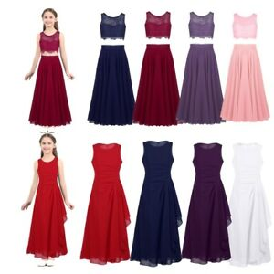 f9c05f75e Flower Girl Dress Lace Top+Skirt Party Bridesmaid Pageant Wedding ...